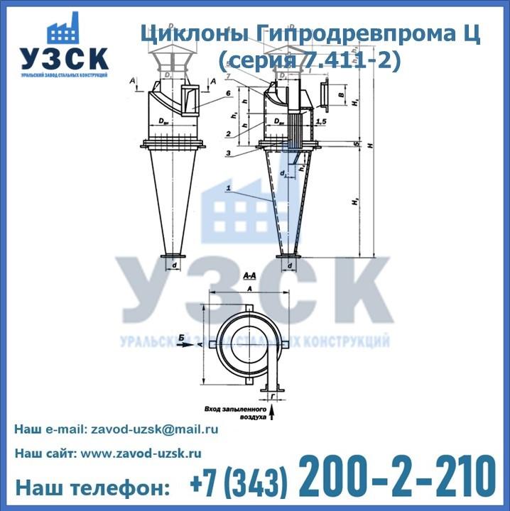 Схема строения циклона Гипродревпрома