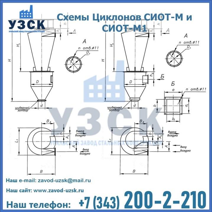 Циклоны СИОТ-М1 и СИОТ -М1 серии 5.907-1 модернизированные