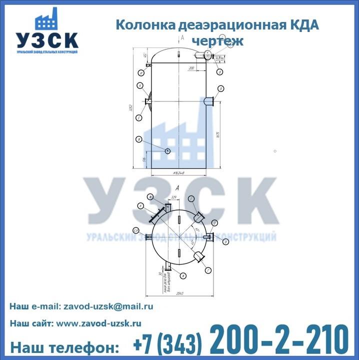 Колонки КДА деаэрационные чертеж